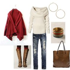 Great outfit... love the cape style sweater... and of course the cream sweater. The options are endless