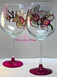Created these White Cymbidium Orchid custom #handpaintedwineglasses as Mother's Day gift