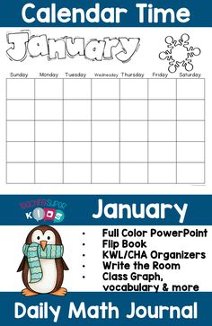 Math Meeting with January Calendar Journal activities! This set of morning work for January has a super cute winter theme. Teaching children daily calendar related activities helps to increase their understanding of dates, time, numbers, days of the week and so much more.