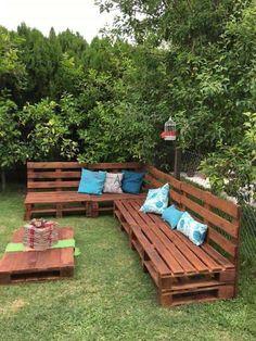 comment faire un salon de jardin sur roulettes avec des palettes en bois - Comment Faire Une Table De Jardin Avec Des Palettes