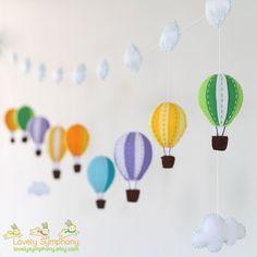 colorful garland - 9 hot air balloons - baby garland - Garland - Wall decoration - bunting -banner