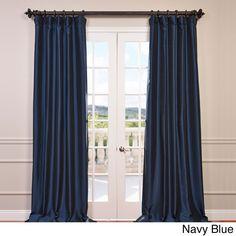 Exclusive Fabrics Faux Silk Taffeta Solid Blackout Curtain Panel (Navy Blue - 108L), Size 50 x 108
