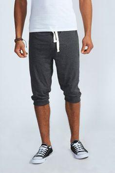 Charcoal Marl Lightweight Cuffed Shorts at boohoo.com