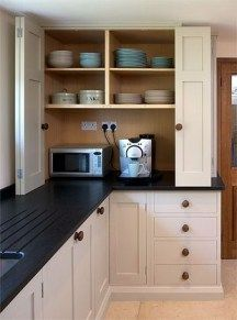 Kitchen Remodel Ideas Small Kitchen Ideas With French Country Style 52 - Small kitchen design ideas should be ways you come up with to save as much space as possible while having […] Kitchen Corner Cupboard, New Kitchen Cabinets, Ikea Kitchen, Home Decor Kitchen, Kitchen Interior, Home Kitchens, Kitchen Storage, Kitchen Small, Kitchen Countertops