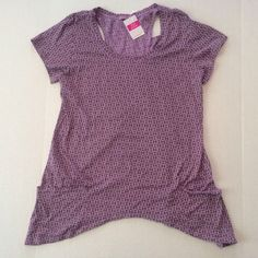 Fresh Produce M Purple Twin Peaks Geometric Top Short Sleeves Cotton Casual #FreshProduce #KnitTop #Casual