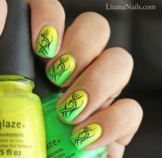 Tribal summer neon gradient by Lizana Nails