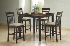 "5 Piece Cappuccino Finish Counter Height Dining Set by Coaster Home Furnishings. $459.37. dining room set. dining set furniture. square dining set. dining table set. dining sets. Metal and glass occasional table features a bevelled glass top and a black metal frame. Size:  Table: 40""l x 40""w x 20""h   Use this table as pictured with our colored cubes pictured below.(Optional) Ottomans are not included. If yoy want the ottoman please look for the number (500944 taupe, 50095..."