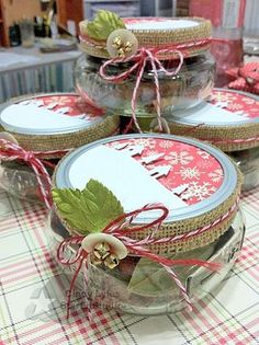 Spice Jar:  Filled with wonderful smelling spices. Holes are punched in the jar lids with a decorative paper scene that will let the wonderful scent fill the room.