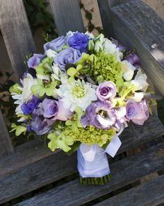 Sacramento Wedding Flowers- Just a few pretty Bridal Bouquets green hydrangea, roses,  lisianthus, dahlias, orchids and purple sage