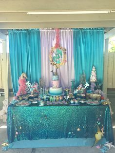 Mermaid party, mermaid party by Jcute Design, cupcakes, sweet table, design, kids birthday, cake pops, under the sea, outdoors, cake pop, chocolate covered Oreos, cotton candy
