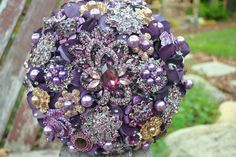 spring flower brooch bouquet - made-to-order wedding bridal bouquet Archives - Weddings Romantique Lavender Wedding Colors, Purple Wedding Bouquets, Wedding Flowers, Wedding Colours, Lavender Blue, Green Wedding, Purple Brooch Bouquet, Wedding Brooch Bouquets, Hand Bouquet