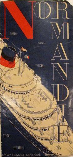 Original 1935 Normandie Oceanliner Pamphlet by Herbert Libiszewski