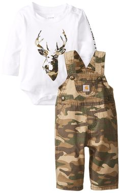 Carhartt Baby-Boys Washed Ripstop Bib Overall Set, Green/Brown Camo, 9 Months