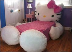 This hello kitty bed is the cutest bed ever! This bed cover zips around a mattress like a pillowcase, you'll have this hello kitty bed setup in no time Cama Da Hello Kitty, Hello Kitty Lit, Hello Kitty Zimmer, Hello Kitty Bedroom, Cat Bedroom, Girls Bedroom, Bedroom Decor, Theme Bedrooms, Kitty Kitty