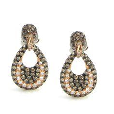 Dangle Champagne & White Diamond Earrings | Goldstock Jewelers