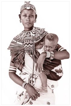 Portraits of people from Northern Kenya taken by John Kenny                                                                                                                                                                                 More African Beauty, Mother And Child, Babywearing, Baby Carrying, African Tribes, African Art, African Women, John Kenny, Tribal Nursery
