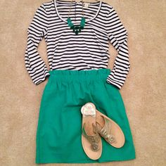 J crew skirt and Jack Rogers with a classic striped shirt. I need one of these skirts sooo bad