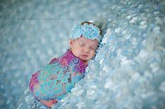 Baby Flower Headband - Newborn Photo Prop - Girls Headband in Blue    $8.00