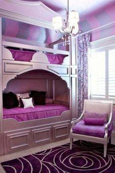Teen Bedroom Ideas: Purples, Bunk Beds and Chandeliers