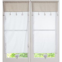 Visillo de algodón blanco y beige 60x120 | Maisons du Monde
