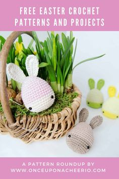 Looking for FREE crochet patterns for Easter? Spring into the season with some crochet Easter eggs, crochet Easter egg cozy, amigurumi bunnies, DIY crochet bunny ears and DIY crochet Easter baskets. Free crochet patterns for beginners that are great for Easter. Easter Egg Pattern, Easter Crochet Patterns, Crochet Bunny, Free Crochet, Crochet Ideas, Easter Hunt, Easter Bunny Eggs, Bunnies, Triple Crochet Stitch
