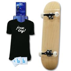 """Our Learn to Skate Package is the perfect gift for your loved ones starting out skating. This package comes with: First Try Tee Blank Complete Skateboarding Made Simple Volumes 1-6 DVD Classic """"b"""" Stickers Complete Skateboards, Skateboard Decks, Skateboarding, Make It Simple, First Love, Packaging, Gift Certificates, Learning, Skateboards"""