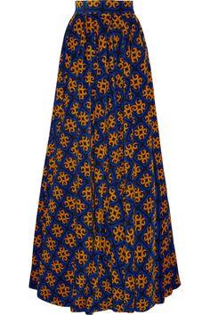Finds|+ Talbot Runhof printed graphic royal blue, orange & black stretch-corduroy maxi skirt