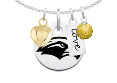 """Southern Mississippi Golden Eagles Cluster Necklace with Heart, Color and Love Accents. Officially Licensed. Standard Chain Length is 16"""". Circle Charm Size is 17mm (size of a dime). Crystal Ball Measures 5mm in Diameter. """"The indicia featured on this product is a protected trademark owned by the respective college or university.""""."""