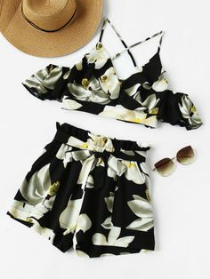 Shop Frilled Overlap Cami And Self Tie Shorts Co-Ord online. SheIn offers Frilled Overlap Cami And Self Tie Shorts Co-Ord & more to fit your fashionable needs. Teenager Outfits, Girly Outfits, Cute Casual Outfits, Summer Outfits, Shorts Co Ord, Tie Shorts, Girls Fashion Clothes, Teen Fashion, Fashion Outfits