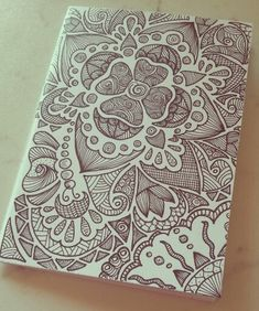 Illustrated notebook cover. Diy notebook A6. Zentangle design. Dedalus #02