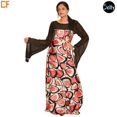 Abstract kaftan in satin material, full-length, flowy long sleeves, boat neckline. The overlay of the kaftan is in georgette with georgette sleeves. The rest of the dress has abstract prints throughout in pink, brown and grey. http://www.droomfashion.com/shop/kaftans/abstract-satin-kaftan/