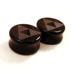"3/4"" (19mm) 7/8"" (22mm) 1"" (25mm) Tri Force Black Glass Plugs Opaque Ear Gauges Triforce on Etsy, $24.75"