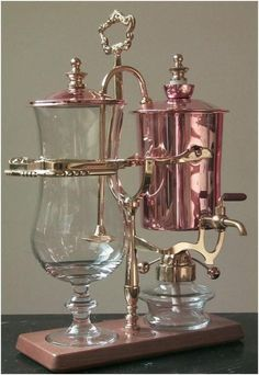 Glass, brass, and copper coffee maker