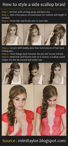 How to style a side scallop braid - the dress is also cute! How to style a side scallop braid - the My Hairstyle, Pretty Hairstyles, Hair Updo, Medium Hair Styles, Short Hair Styles, Hair Medium, Medium Long, Teased Hair, Hairstyle Tutorials