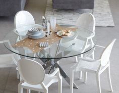 5d8890003e6 IBIZA - Round glass and chrome dining table 47   - Chrome Dining Room Chairs
