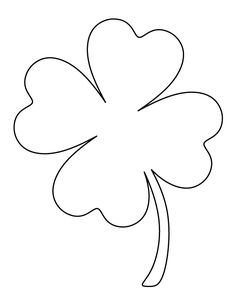 Printable full page large four leaf clover pattern. Use the pattern for crafts, . - Printable full page large four leaf clover pattern. Use the pattern for crafts, creating stencils, - Shamrock Template, Leaf Template, Owl Templates, Crown Template, Butterfly Template, Applique Templates, Printable Templates, Flower Template, St Patrick's Day Crafts