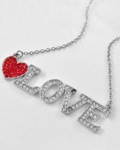 LOVE Heart Rhinestone & Crystal BLING Toggle Necklace in Silvertone for Valentine's Day by Jersey Bling: Jewelry: Amazon.com