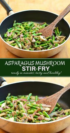 Asparagus Mushroom Saute with tender-crisp asparagus, cremini mushrooms, and red onions stir-fried in garlic and herbs. Ready in minutes, it's the perfect weeknight side dish yet fancy enough for company. Healthy Side Dishes, Vegetable Side Dishes, Side Dish Recipes, Vegetable Recipes, Vegetarian Recipes, Healthy Recipes, Fancy Recipes, Healthy Food, Vegetarian Diets