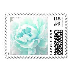 Personalizable, Tiffany Blue Peony Postage Stamps. Use as is or customize with your own text, monogram, couple's names, special date, etc in your favorite font and color. Great for wedding, bridal shower, engagement party, vow renewal, and anniversary invitations, announcements, save the dates, and thank yous. Available horizontal or vertical, a variety of peony colors, various postage denominations, and in other matching items (invitations, envelope seals, favor stickers, napkins, etc)…