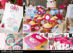 ALICE in Wonderland Printable Party Set - Invitation, Cupcake Toppers, Banner, Photo Booth Props & more. $30.00, via Etsy.