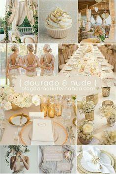 Paleta de cores dourado e nude. Veja mais inspirações para o seu casamento aqui https://www.casamentos.com.br/comunidade