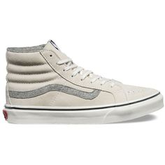 Vans Vintage Suede SK8-Hi Slim ($70) ❤ liked on Polyvore featuring shoes, sneakers, true white, white, vans high tops, white shoes, white lace up sneakers, lace up sneakers and white trainers