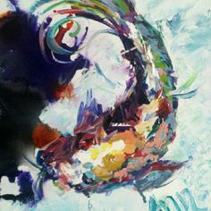 #Colorful #koi #fish... by #Ann Lutz. SOLD.