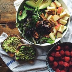 avocado toast and fruit and berry salad