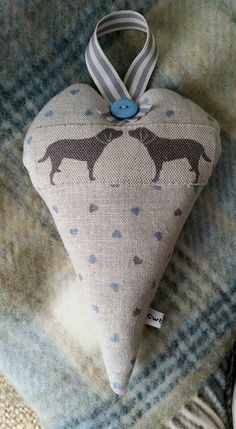 Olive and Daisy Labradors on Cornish Blue/Stone Hearts. Organic Lavender Heart. Hand Sewn by Cwtches.