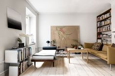 Gravity Home: Living room with a mustard yellow sofa in a harmonious Stockholm apartment Living Room Inspiration, Interior Inspiration, Living Room Interior, Living Room Decor, Living Room Designs, Living Spaces, Stockholm Apartment, Gravity Home, Dream Apartment