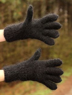 New Hand knitted mohair gloves fluffy soft BLACK fuzzy hand warmers SUPERTANYA #SuperTanya #WinterGloves