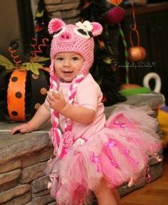 Crochet Pig Costume Baby Infant Newborn Toddler Photo Prop Photography Gift Halloween Costume Sparkle Tutu Girl