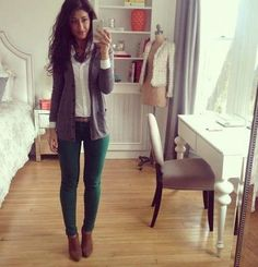 dark green skinny jeans- could I pull them off..? Hmm