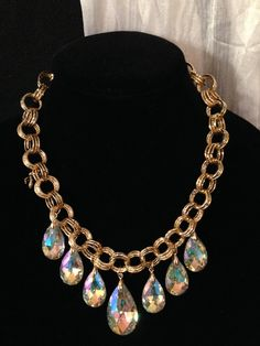 Long gold chain with 7 acrylic crystal clear teardrops necklace set
